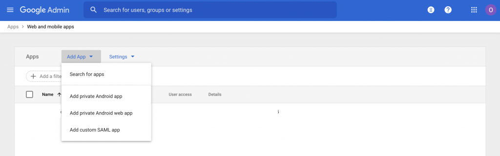 SAML Apps in the Admin Console of Google Workspace (formally G-Suite)